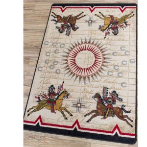 Rug print with Native American Warriors on horses