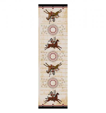 Runner rug depicting war scene on a beige background
