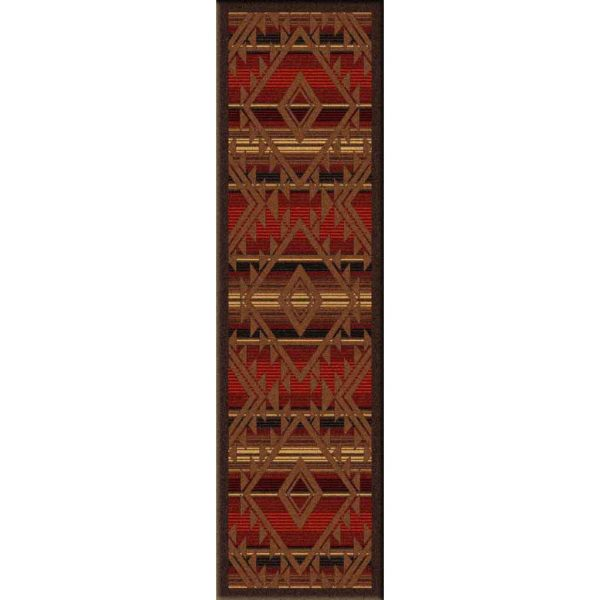 Runner rug with a Southwestern pattern in brown on a red background