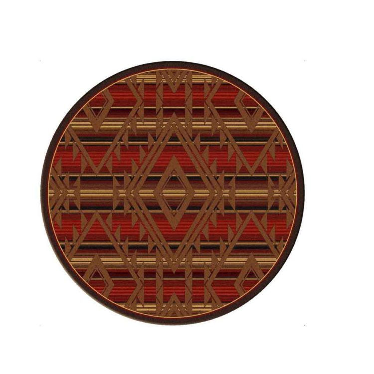 Round area rug with diamond and stripes pattern in multi shades of red and brown