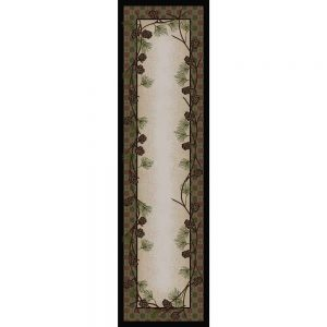 Runner rug with a tan center bordered with pine cones and a muted green and red plaid