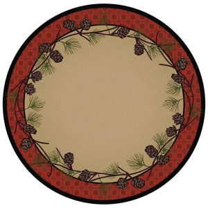 Rustic beige and red round rug with a plaid border and pine cones design