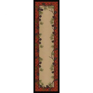 Rustic 2x8 runner with a beige center and a pine cones and red plaid border