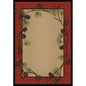 Tan area rug with a red plaid and pine cones border