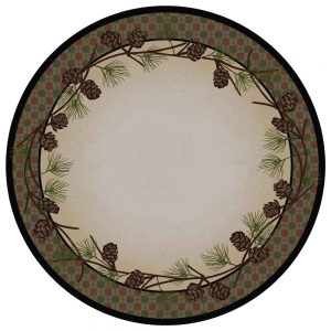 Round rustic area rug with a plaid and pine cone border with a tan center
