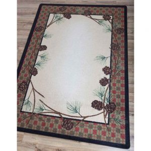 Rug with plaid border in red, green, and natural with pine cone design