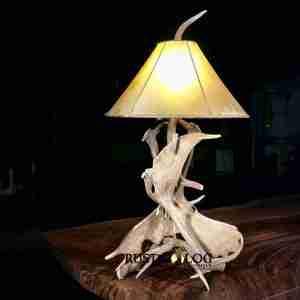 Real deer antler lamp with rawhide shade