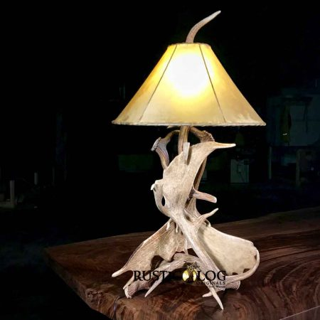 Real deer antler lamp with rawhide shade
