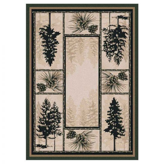 Cabin rug with pine tree pattern in tan and forest green