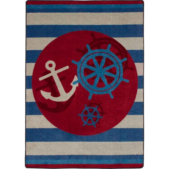 Red, white, and blue coastal area rug with nautical stripes, anchor, and wheel