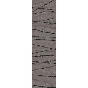 Novelty rug pattern with barbed wire on a gray background