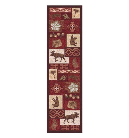 Runner rug with lodge-themed prints in multi-shades of red