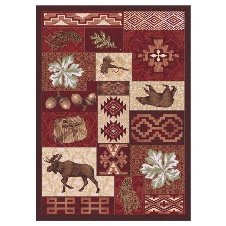 Cabin decor rug in dark red and fall colors