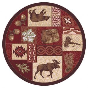 Red rustic round rug