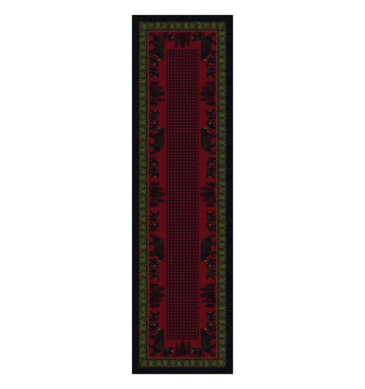 Red and green bear print area rug