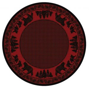 Round cabin rug in black and red with a bear and plaid design