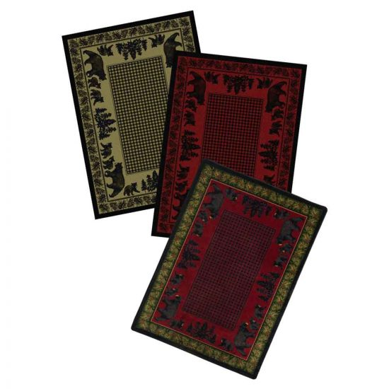 Rugs with bears. pine trees and houndstooth print in 3 colors