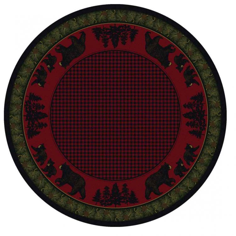Red and green round cabin rug with a plaid and bear pattern