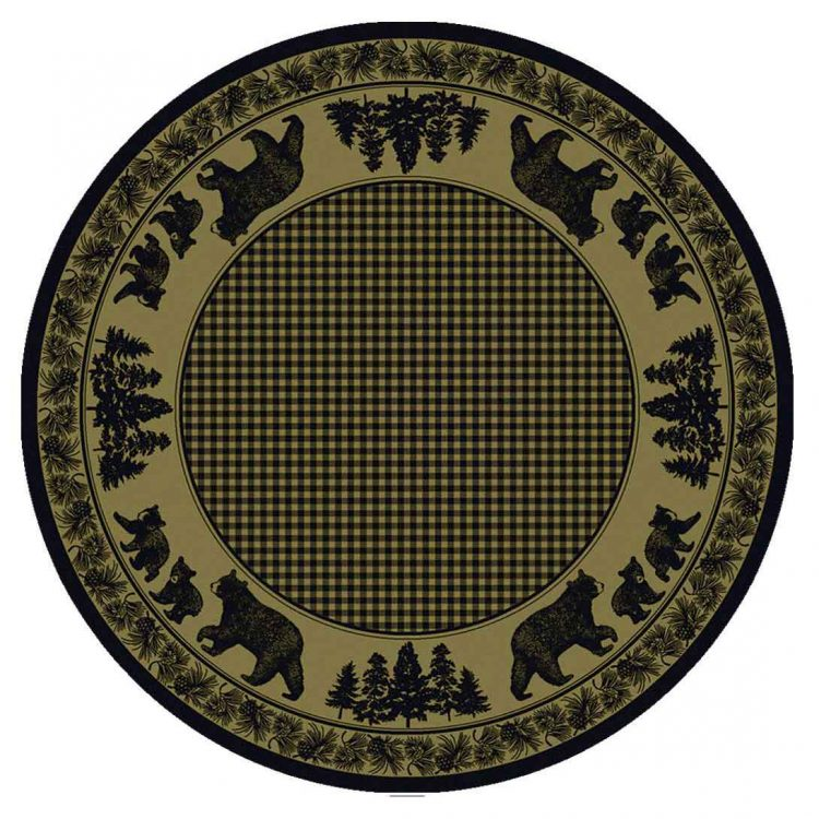 Green round rug with a cabin inspired design