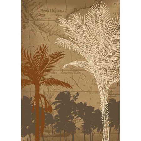 Palm tree and antique Bermuda map print 5x8 rug