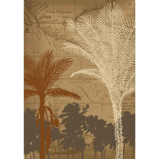 Palm tree and antique Bermuda map print 5x8 rug