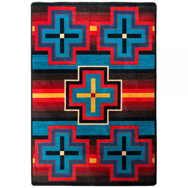Multicolor rug with bold crosses design in red, blue, and yellow
