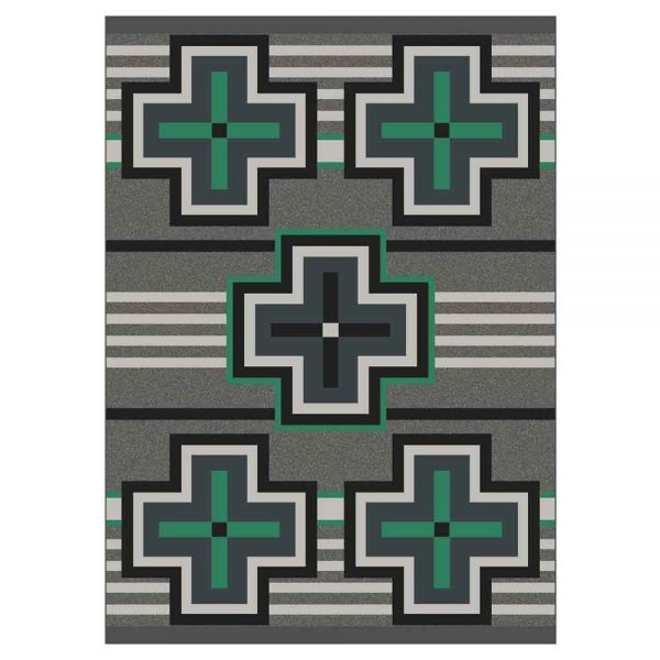 Gray and green area rug with Southwest cross print