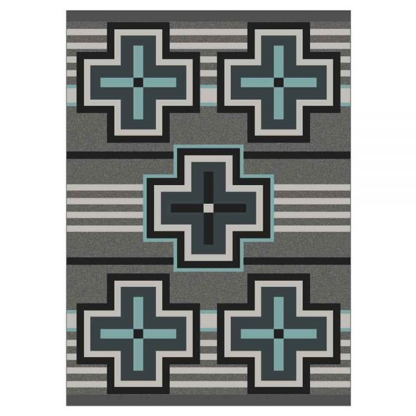 Area rug with gray and turquoise crosses print