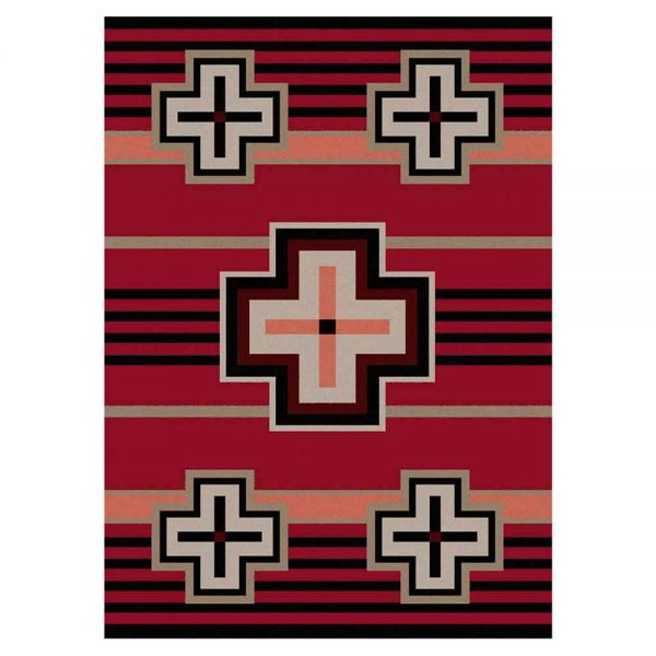 Red Southwestern rug with a cross pattern