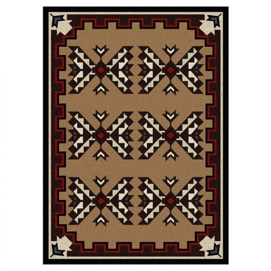 Rug with a print inspired by traditional Southwestern blanket