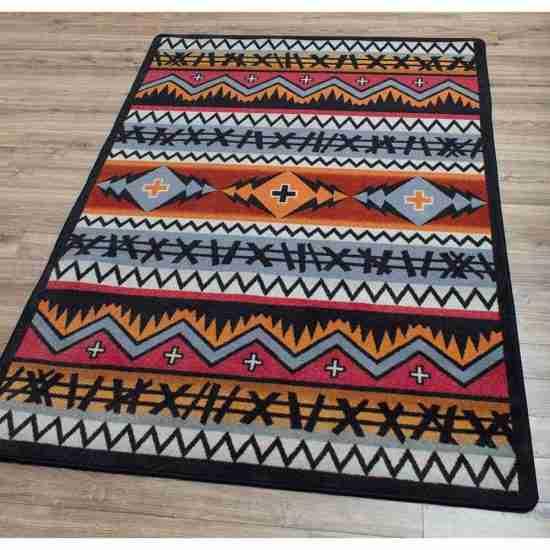 Multicolor graphic print area rug