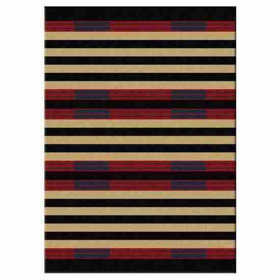 Black and khaki stripe print area rug