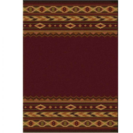 Brick red rug with top and bottom border with Southwest designs