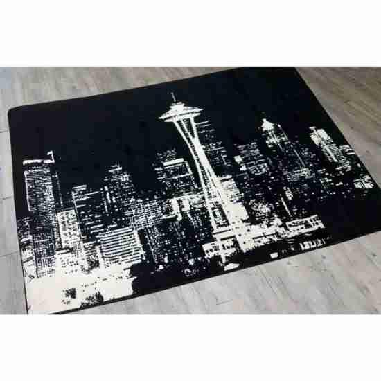 Black and White cityscape print 4x5 rug