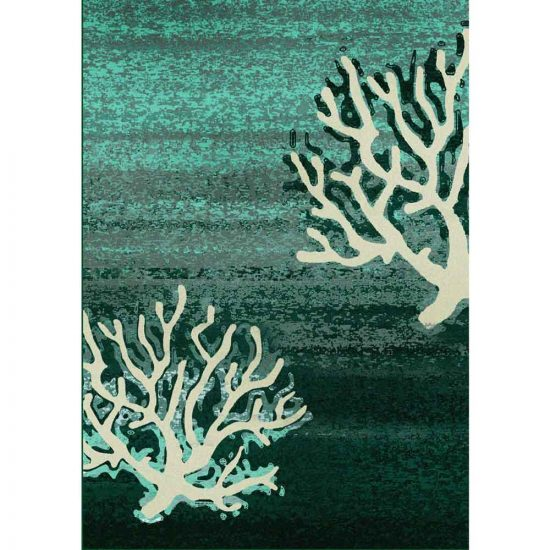 Ombre green rug with coral branch pattern