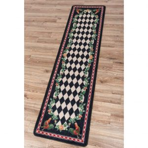 Runner rug with a diamond pattern in the center bordered by roosters and roses