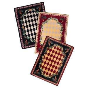 Diamonds and rooster print rug in red, yellow or black