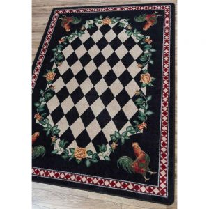Country area rug with diamond pattern in black and cream and detailed rooster print