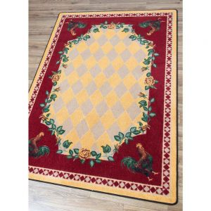 Rooster and diamond print yellow and red area rug
