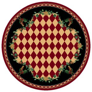 Red and yellow diamond pattern round area rug