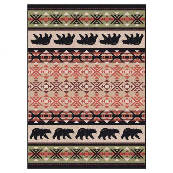 Rustic area rug print in red, green, and black with bears and geometric designs