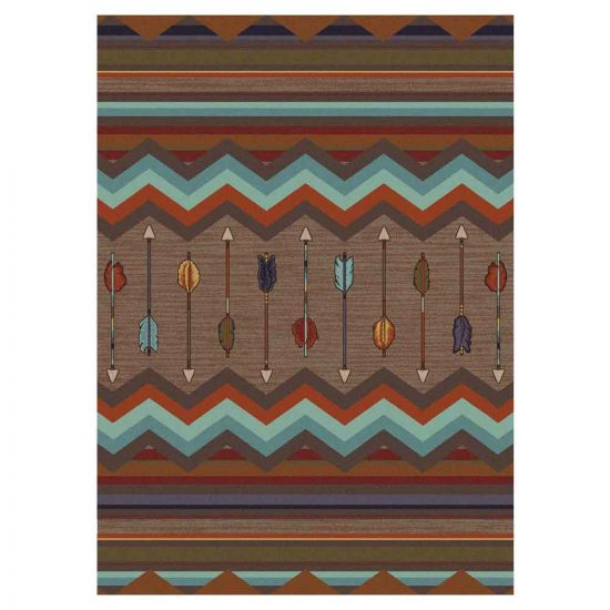 Area rug with multicolor arrows and stripes on a brown background