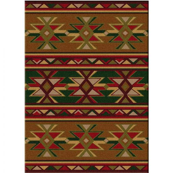 Multi shades of green and red rug with Southwest-inspired motifs