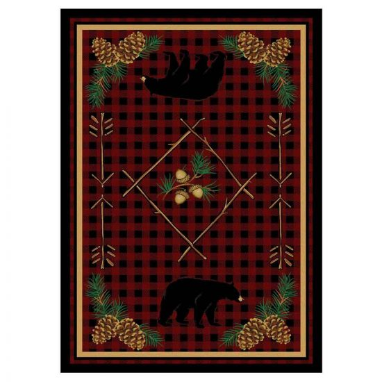 Rug with dark red plaid background and detailed bears and pine cone designs