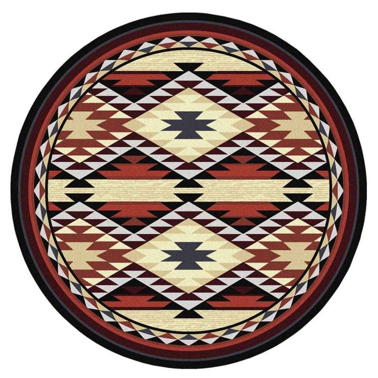 Southwestern round rug in rust and tan