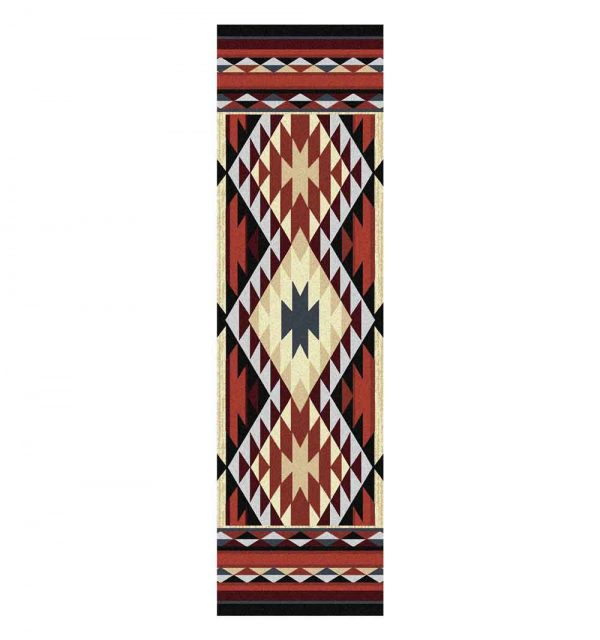 Rust and tan runner rug with a geometric Southwestern pattern