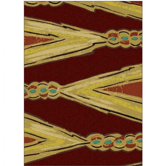 Red and gold area rug with sash print