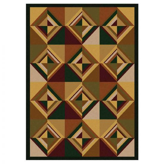 Green and brown mid century modern rug