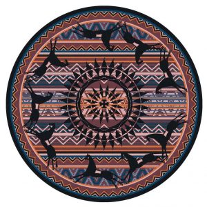 Round rug with plum stripe background and horse design