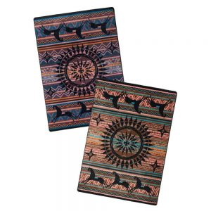 Southwest rugs with horse print in either plum multi or turquoise multi